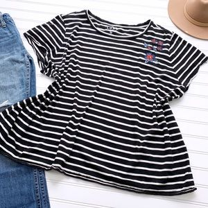 LOFT black & white striped floral embroidered tee
